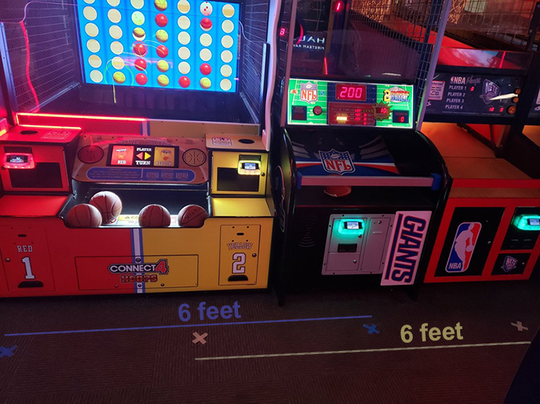Play in the arcade with socially distanced safety